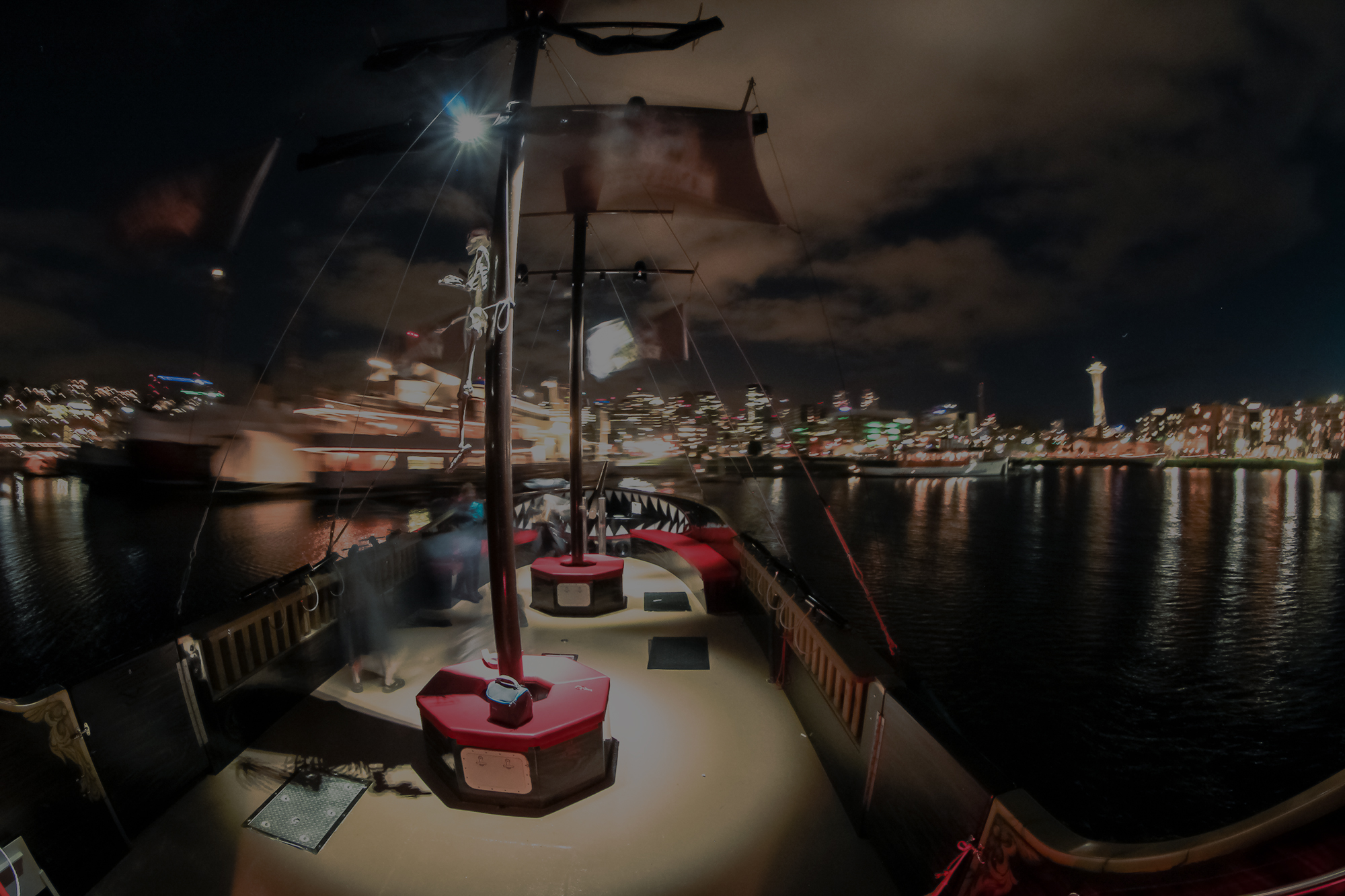 Pirate Ship at night on Lake Union in Seattle