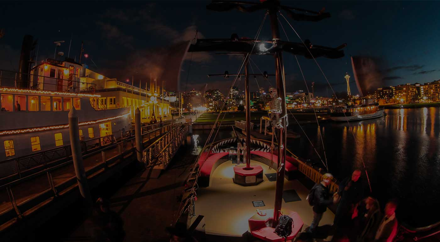 Pirate Ship at night in Seattle Washington